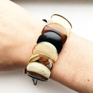Brown & gold lucite disc stretch bracelet